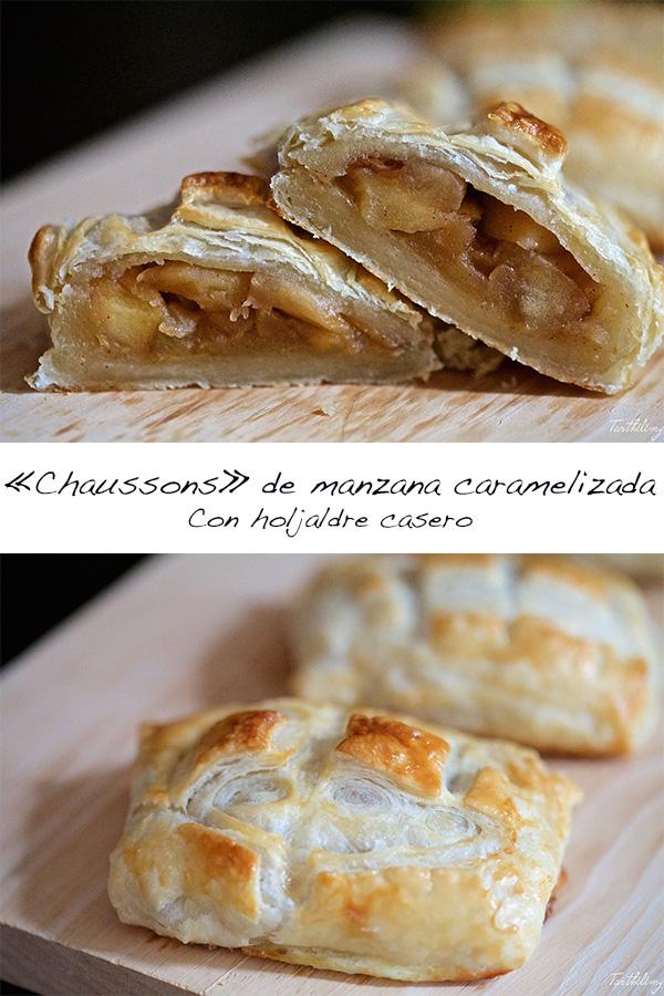 """Chaussons"" de manzana caramelizada, con hojaldrecasero"