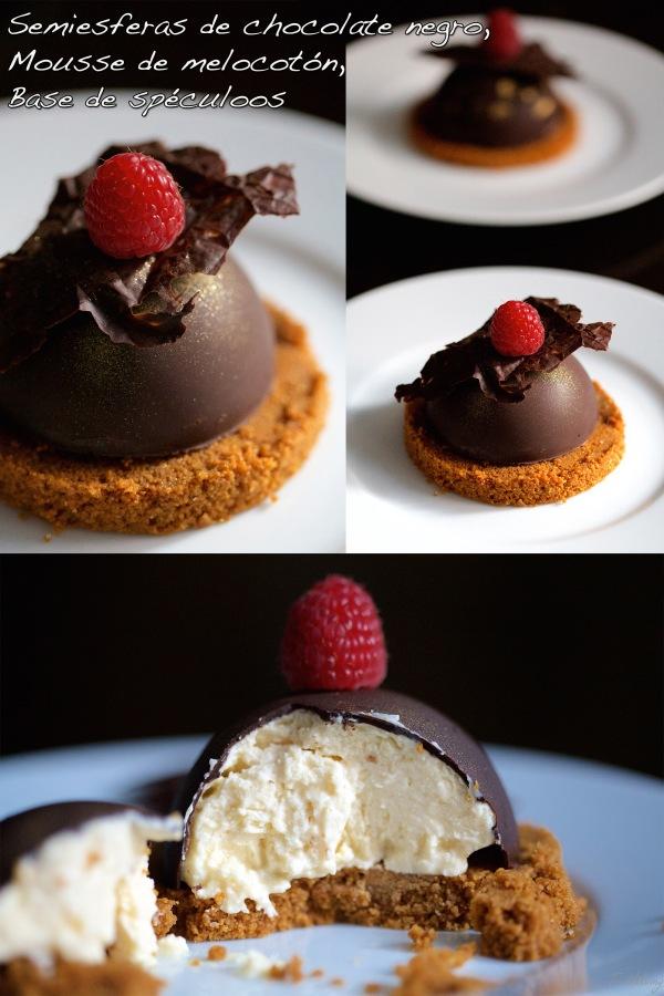 Semiesferas de chocolate negro, mousse de melocotón yspeculoos