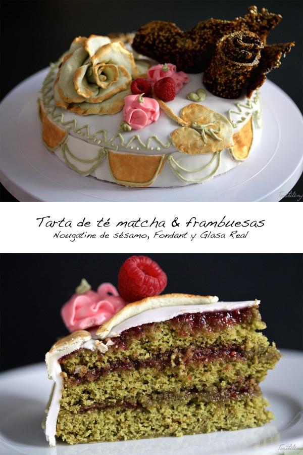 tarta de té matcha & frambuesa