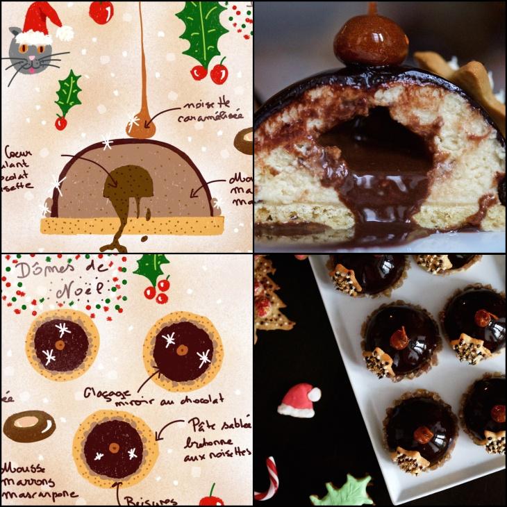 Semiesferas de castañas, avellanas y chocolate