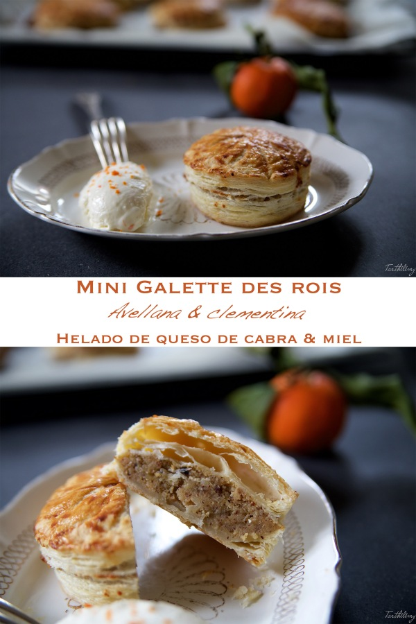 Mini Galette des Rois avellana-clementina, helado de queso de cabra y miel (paso apaso)