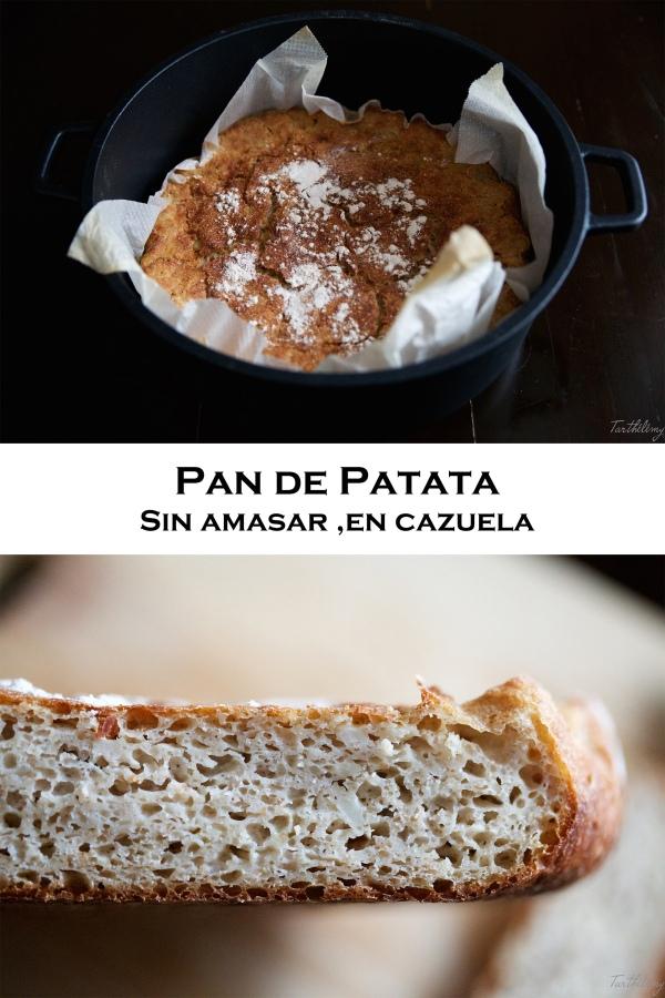 Pan de patata sin amasar, en cazuela(vegano)