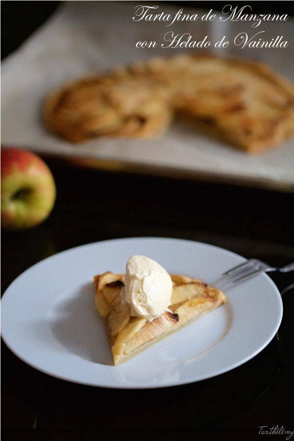 Tarta fina de manzana con helado de vainilla (paso apaso)