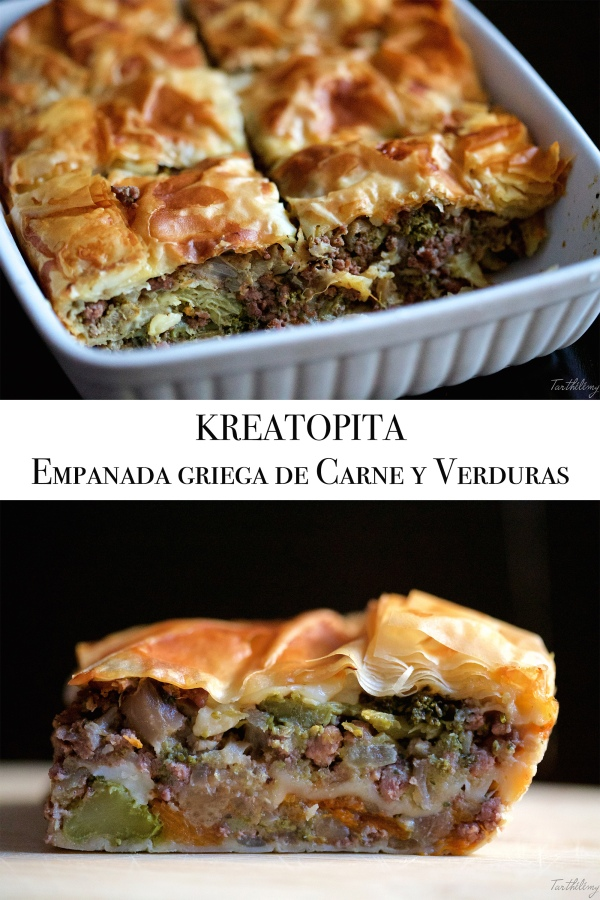 Kreatopita, empanada griega de carne yverduras