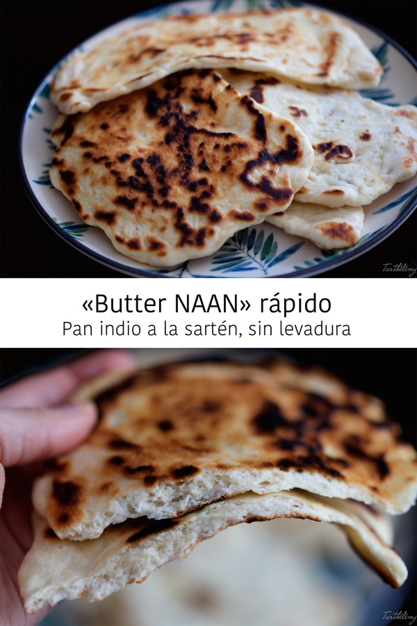 """Butter Naan"" rápido, pan indio a las sartén, sinlevadura"
