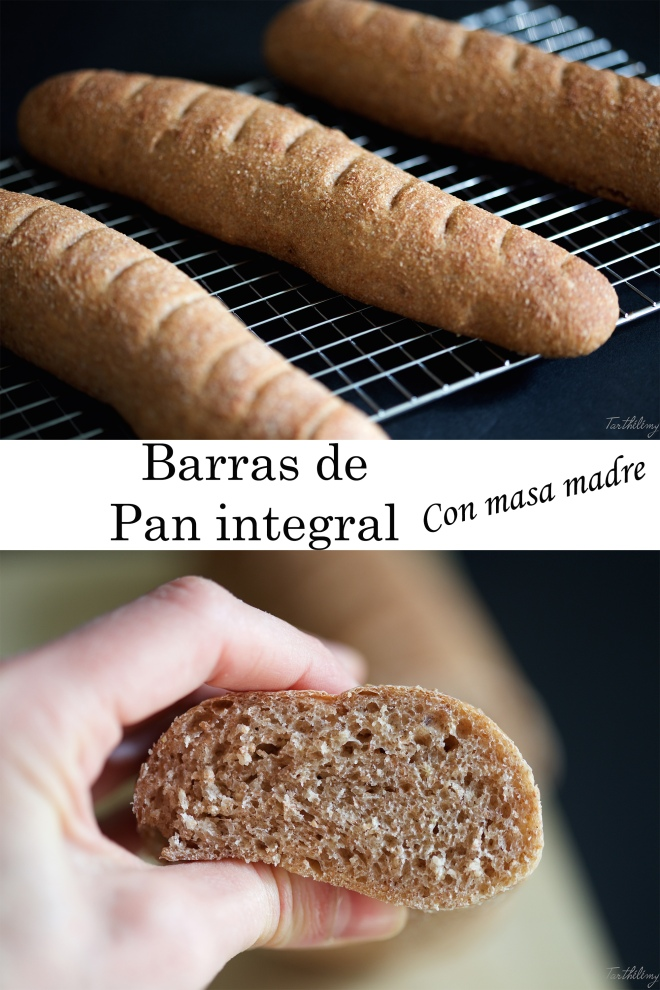 Barras de pan integral con masa madre