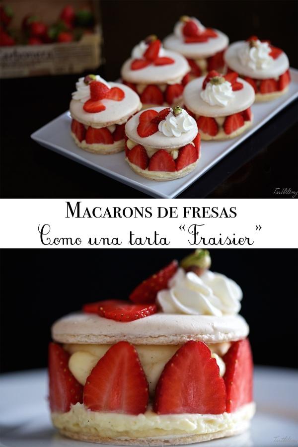 """Macarons de fresas, como una tarta """"Fraisier"""", paso apaso"""