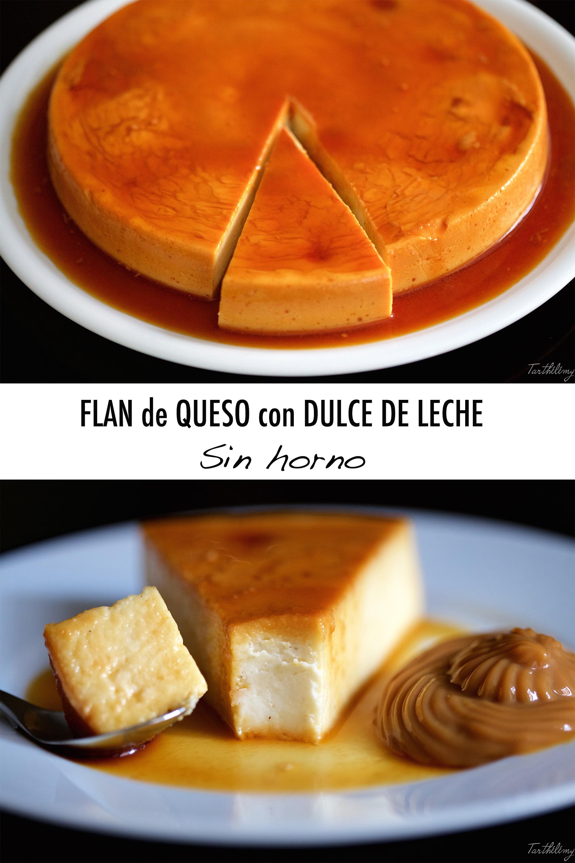 Flan de queso con dulce de leche sin horno (paso a paso)