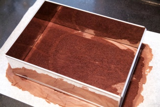 Entremet chocolate, castañas y peras
