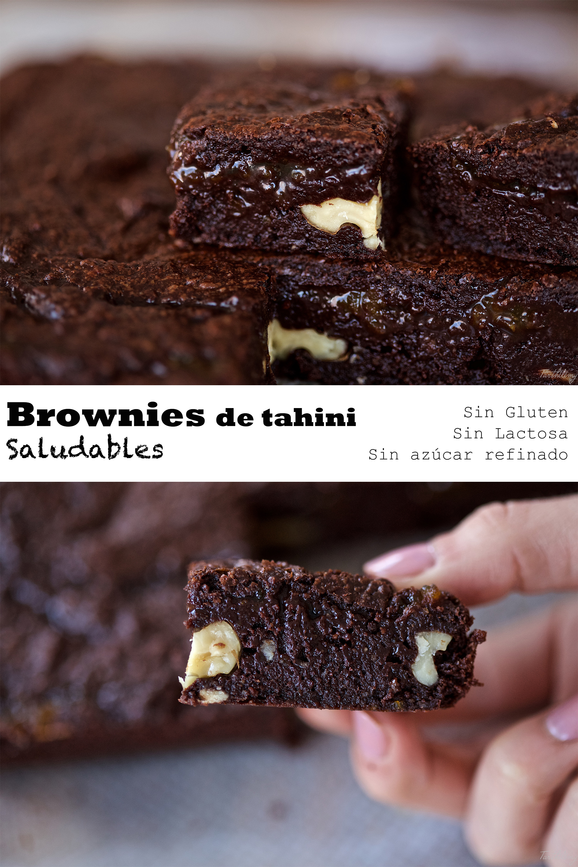 Brownies de tahini (con claras de huevo, saludables)