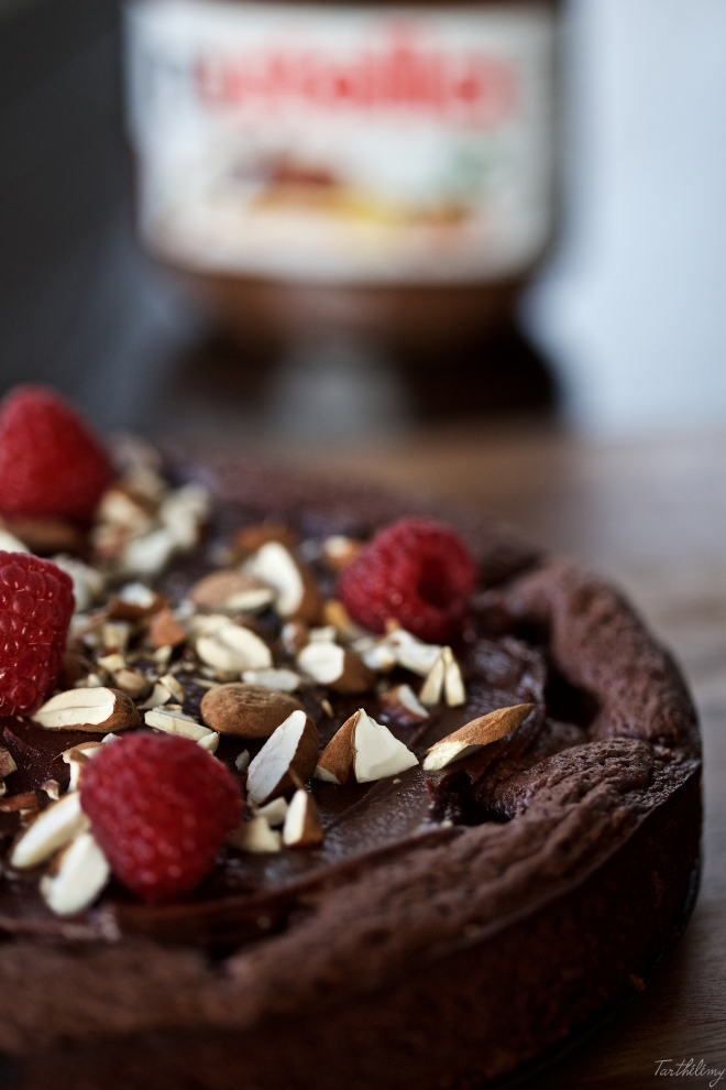 Tarta de Nutella y frambuesas sin gluten