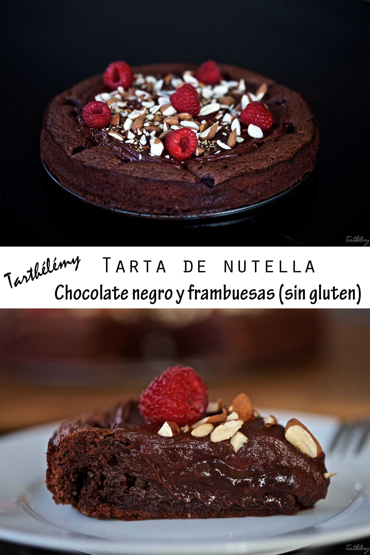 Tarta de nutella y frambuesas (sin gluten)