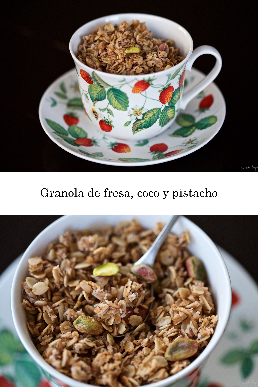 Granola de fresa, coco y pistacho (paso a paso, vegano y sin gluten)