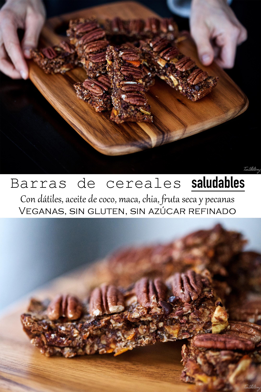 Barras de cereales saludables (veganas, sin gluten ni azúcar refinado)
