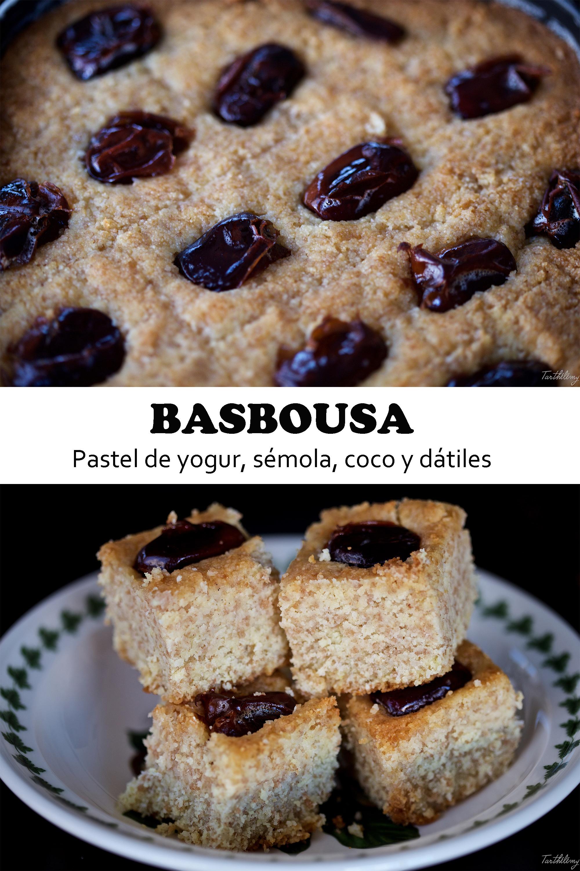 Basbousa, pastel de yogur, sémola, coco y dátiles (paso a paso)