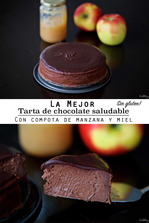 La mejor tarta de chocolate saludable, con compota de manzana y miel, sin gluten (paso a paso)