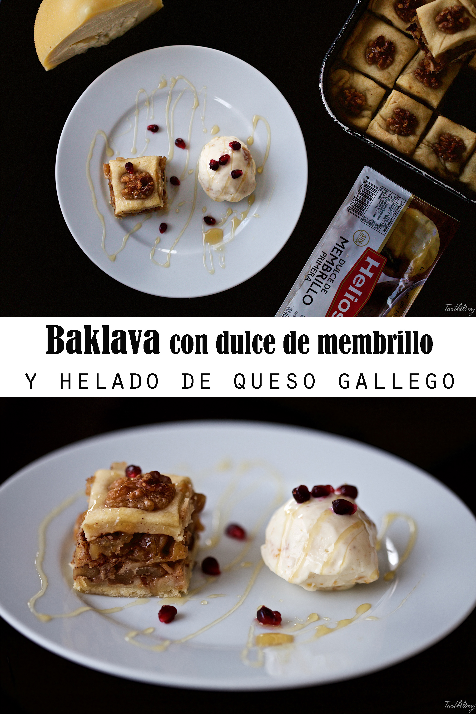 Baklava con dulce de membrillo y helado de queso gallego (sin huevo, paso a paso)