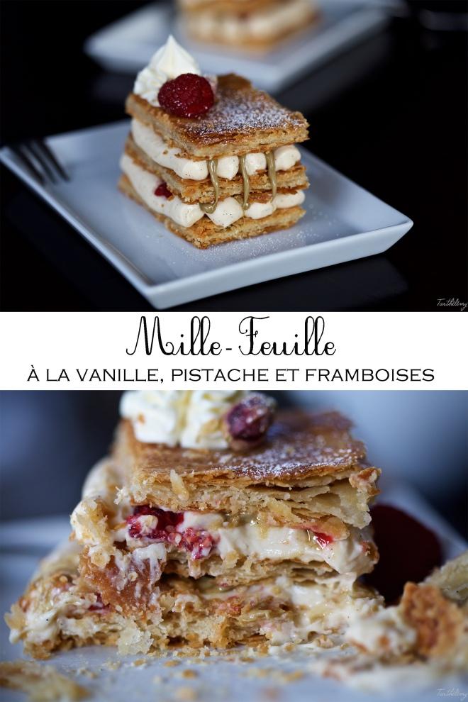 Mille-feuille à la vanille, pistache et framboises