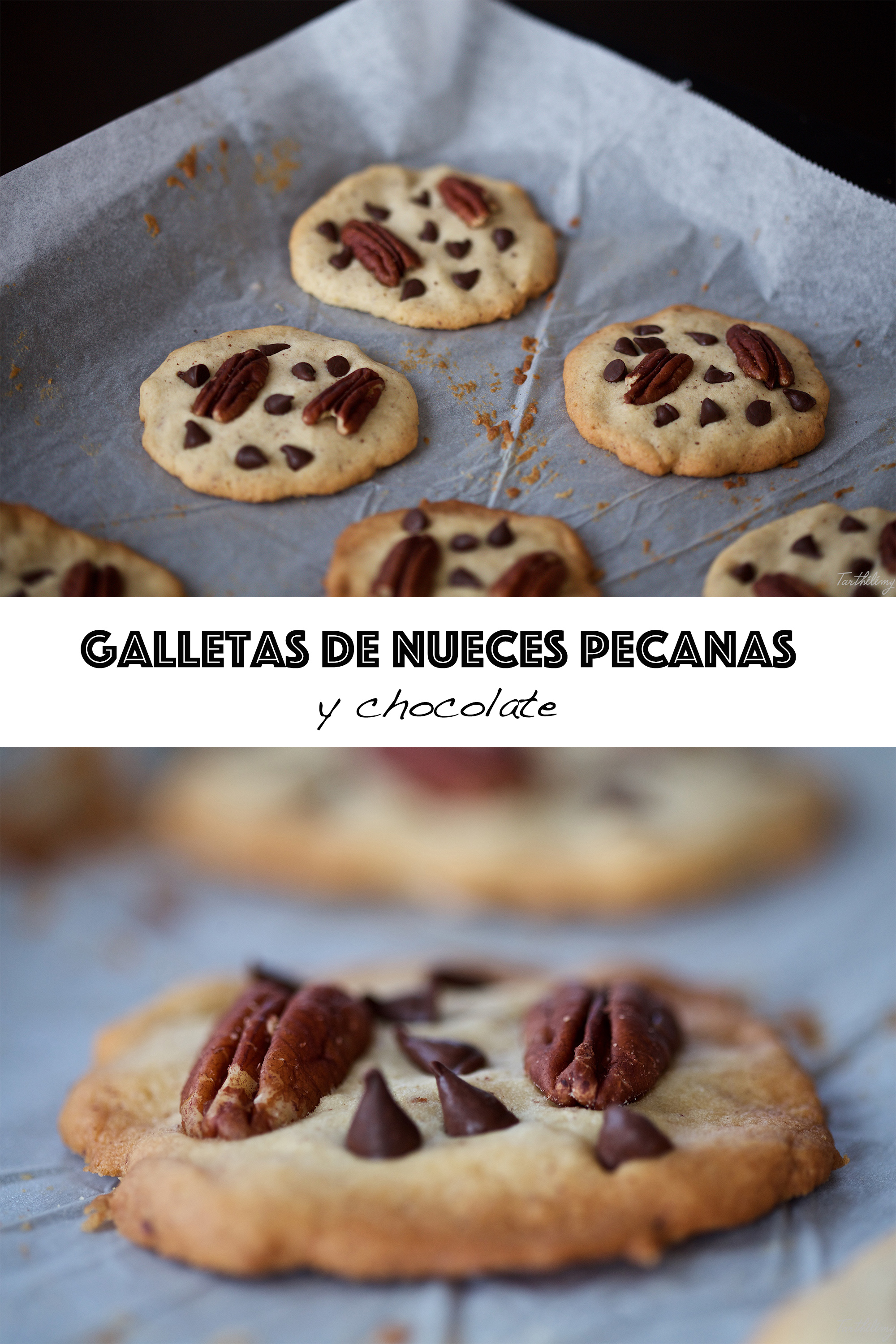 Galletas de nueces pecanas y chocolate
