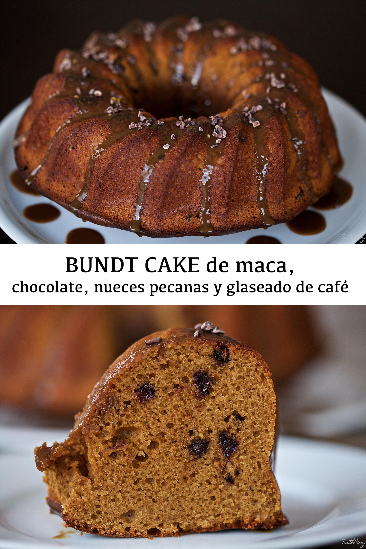 Bundt cake de maca, chocolate, nueces pecanas y glaseado de café