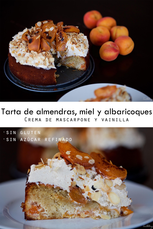 Tarta de almendras, miel y albaricoque sin gluten, con crema de mascarpone (paso a paso)